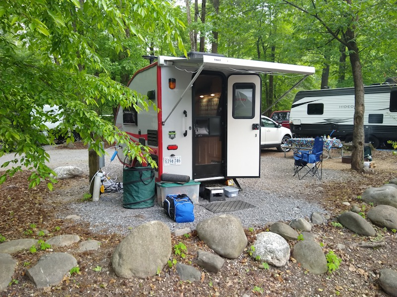 Camper at campground